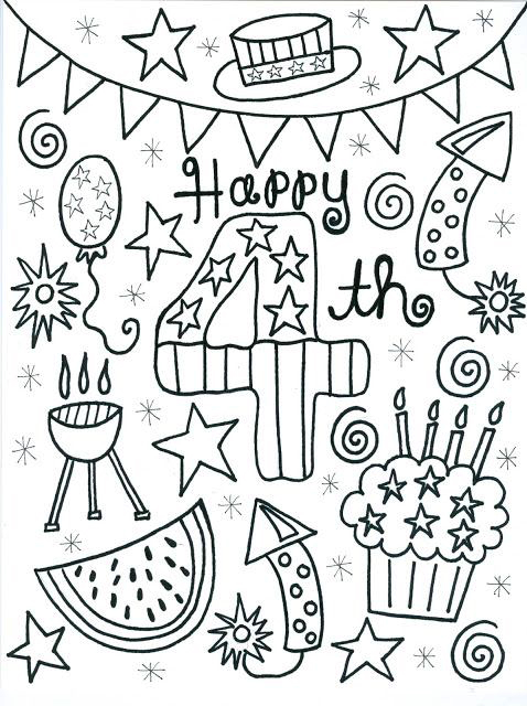 4th Of July Coloring Pages Of Party